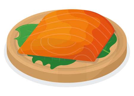 Piece fish tuna salmon, fresh steak tenderloin on wooden kitchen board isolated on white, cartoon vector illustration. Healthy fat seafood stuff icon food.