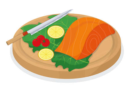 Cut up tuna fish and salmon minnow on wooden kitchen board concept isolated on white, cartoon vector illustration. Design preparation seafood, special stuff for cooking, sharp knife slice meat.