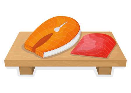 Piece fish tuna salmon, fresh steak tenderloin on wooden kitchen board isolated on white, cartoon vector illustration. Healthy fat seafood stuff icon food.