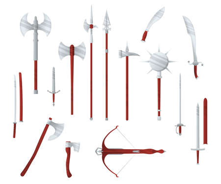 Medieval war type of weapon, set concept icon crossbow, sword, ax, pike mace and katana old cold weaponry flat vector illustration, isolated on white.
