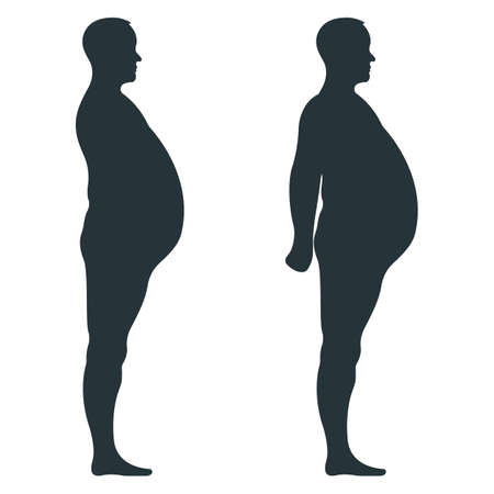 Black view side body silhouette, fat extra weight male anatomy human character, people dummy isolated on white, flat vector illustration. Mannequin people scale concept, unhealthy lifestyle. Ilustración de vector