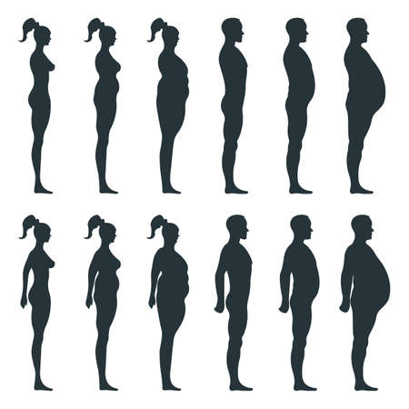 Black view side body silhouette, fat extra weight female, male anatomy human character, people dummy isolated on white, flat illustration. Mannequin people scale concept, unhealthy lifestyle. Ilustracje wektorowe