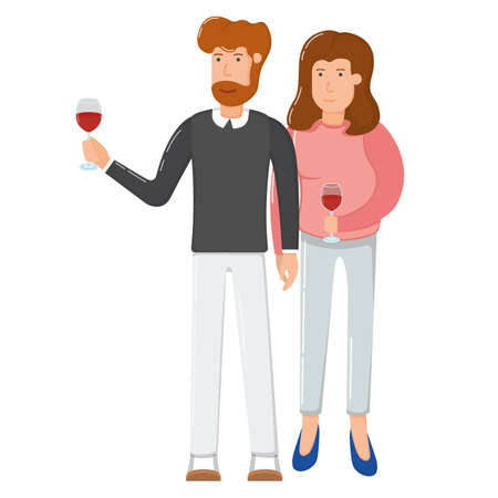 Lovely couple character female and male hold wine glass, holiday winter celebration solemn toast cartoon vector illustration, isolated on white. Concept happy person romantic date, pair woman man.