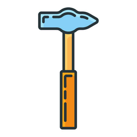 Hammer construction repair tool icon, concept sledgehammer work toolkit renovation house line flat vector illustration, isolated on white. Object hand hardworking device.
