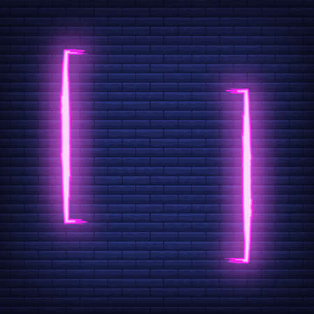 Concept neon quote blank icon and label, colorful phrase vector illustration, isolated dark brickwork background. Template for note, message, comment. Vektorgrafik