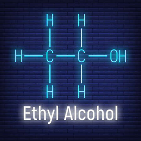 Ethyl spirit alcohol glow neon style concept chemical formula icon label, text font vector illustration, isolated on wall background. Periodic element table, addictive drug stuff.