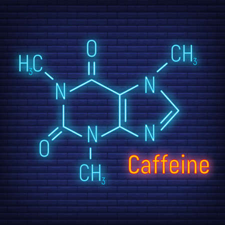 Caffeine glow neon style concept chemical formula icon label, text font vector illustration, isolated on wall background. Periodic element table, addictive drink stuff. Vetores