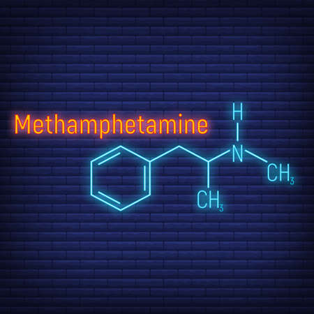 Methamphetamine glow neon style concept chemical formula icon label, text font vector illustration, isolated on wall background. Periodic element table, addictive drug stuff.