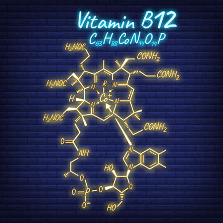 Vitamin B12 Label and Icon glow neon style. Vector Illustration isolated on wall background. Chemical Formula and Structure. Illustration