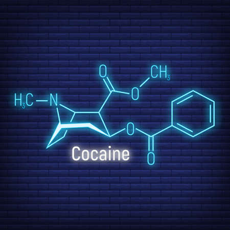 Cocaine glow neon style concept chemical formula icon label, text font vector illustration, isolated on wall background. Periodic element table, addictive drug stuff. Illustration