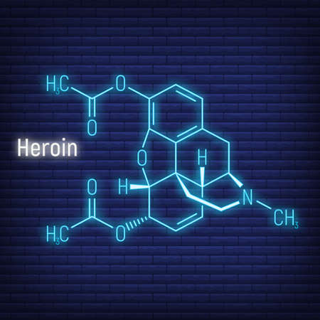 Heroin concept glow neon style chemical formula icon label, text font vector illustration, isolated on wall background. Periodic element table, addictive drug stuff.