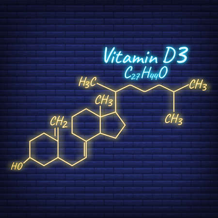 Vitamin D3 Label and Icon glow neon style. Vector Illustration isolated on wall background. Chemical Formula and Structure.