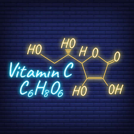 Vitamin C Label and Icon glow neon style. Vector Illustration isolated on wall background. Chemical Formula and Structure.