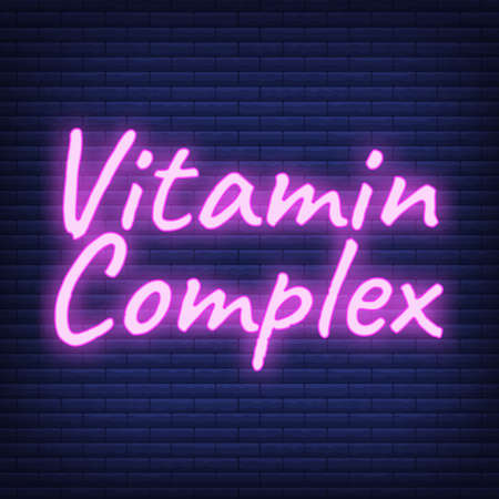 Vitamin Complex Label and Icon glow neon style vector Illustration, isolated on wall background. Illustration