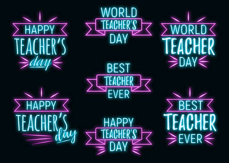 Concept neon best teacher day holiday font text quote, calligraphic inspiration celebration card flat vector illustration, decoration design label. World holiday, web banner internet page. Illustration
