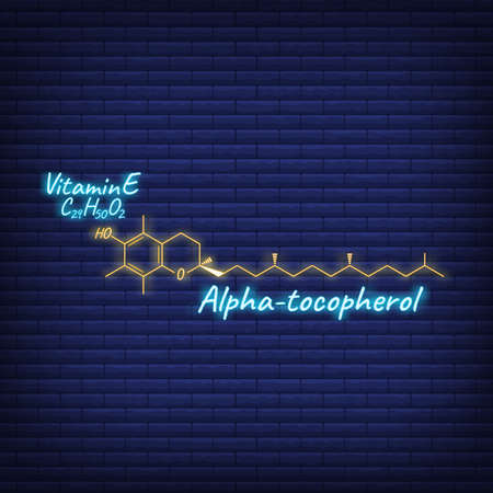 Vitamin E, Alpha Tocopherol Label and Icon glow neon style. Vector Illustration isolated on wall background. Chemical Formula and Structure. Illustration