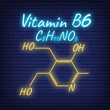 Vitamin B6 Label and Icon glow neon style. Vector Illustration isolated on wall background. Chemical Formula and Structure.