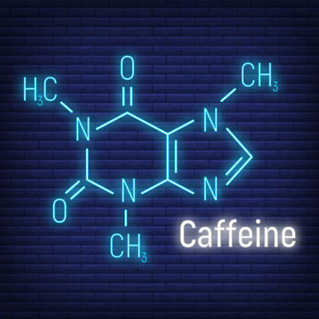 Caffeine glow neon style concept chemical formula icon label, text font vector illustration, isolated on wall background. Periodic element table, addictive drink stuff.