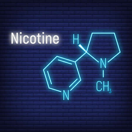 Nicotine concept glow neon style chemical formula icon label, text font vector illustration, isolated on wall background. Periodic element table, addictive drug stuff. Illustration