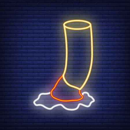 Concept nicotine addictive drug cigarette neon glow style icon stuff, flat vector illustration, isolated on brick wall background.
