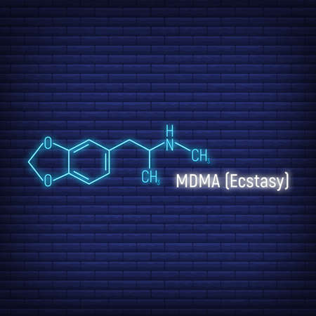 MDMA ecstasy glow neon style concept chemical formula icon label, text font vector illustration, isolated on wall background. Periodic element table, addictive drug stuff.