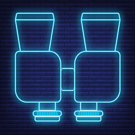 Concept neon glow style tourism equipment binoculars icon, vision instrument web element, vector illustration, isolated on black brick wall background.