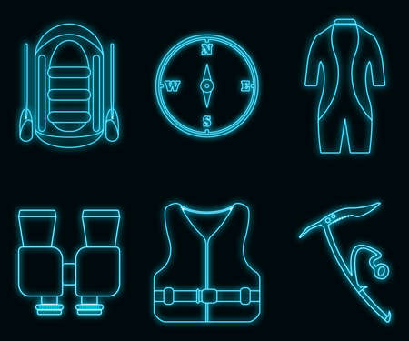 Concept neon glow style tourism equipment rafting and tourism icon collection, swimming suit web element, vector illustration, isolated on black brick wall background. Illustration