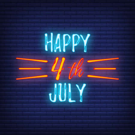 Happy celebration greeting card 4 th July, concept glow neon style font text Independence Day quote phrase vector illustration on black wall background.