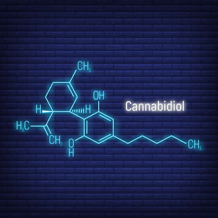Cannabidiol concept glow neon style chemical formula icon label, text font vector illustration, isolated on wall background. Periodic element table, addictive drug cannabis stuff.