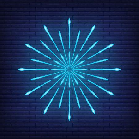 Retro design light sunburst neon style glow geometric shape, vintage rays sunlight explosion icon concept vector illustration, isolated on black wall. Minimal blue firework burst label, sunbeam badge. Illustration