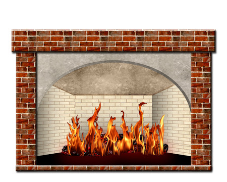 mantel: Brick Fireplace