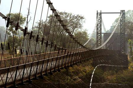 bridge over river kosi in jim corbett