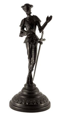 feat: Metal statuette of a classic literary character Don Quixote. Made in the USSR. Isolated on white.