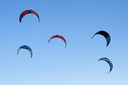 without clouds: Kiteboarding kites close-up blue sky without clouds in background