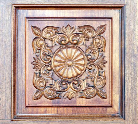 wood carving: Square old-styled carved wooden ornament Stock Photo