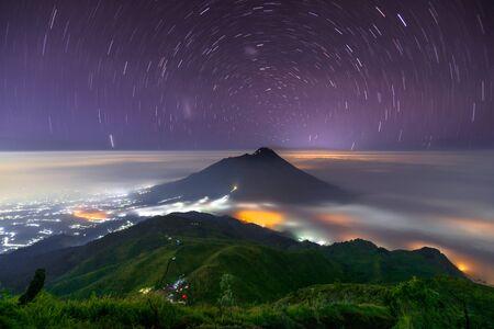 Startrail over Mt. Merapi