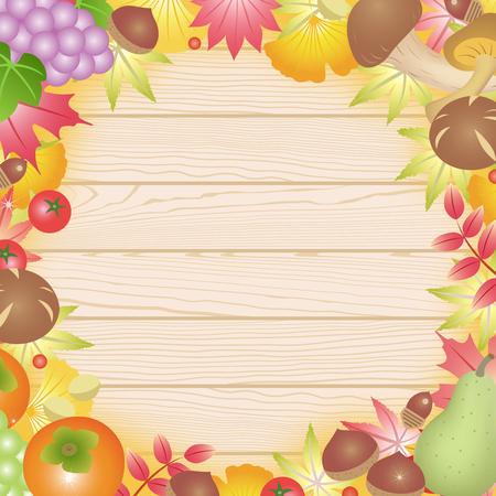 autumn harvest on the board Illustration