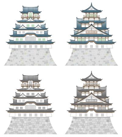 Four castles, isolated on white background. Çizim