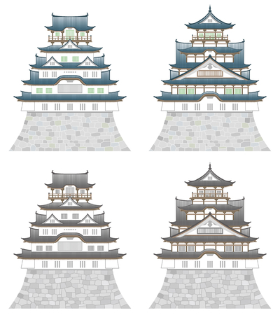 Four castles, isolated on white background. Illustration