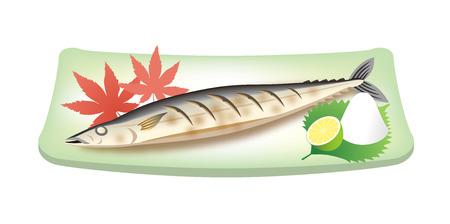 白い背景に分離、皿に焼き太平洋のサンマ