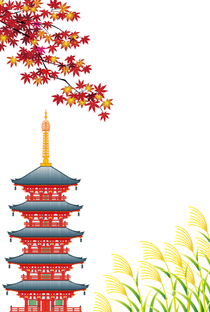 Autumn landscape in Asia, isolated on white background Illustration