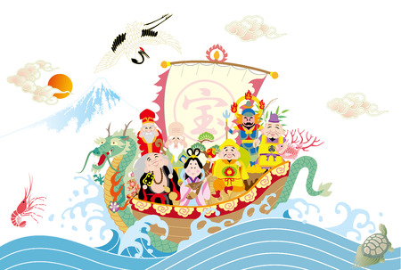 The Seven Lucky Gods on the Dragon Ship Illustration