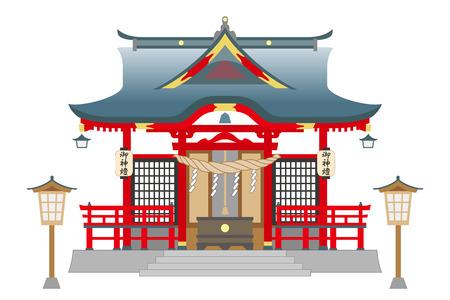 白い背景に分離された神社で  イラスト・ベクター素材