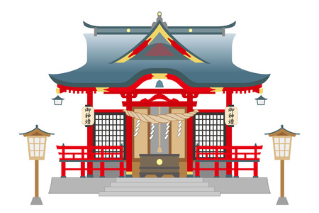 At the Shinto shrine, isolated on white background