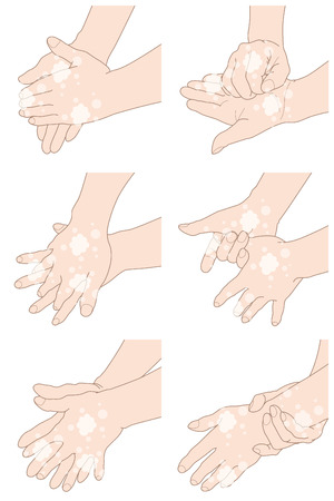 How to wash your hands properly, isolated on white background