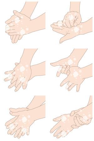 Hoe te om uw handen behoorlijk te wassen, geïsoleerd op witte achtergrond