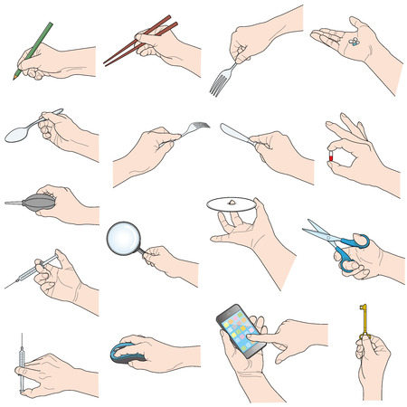 Hand holding various objects, isolated on white background