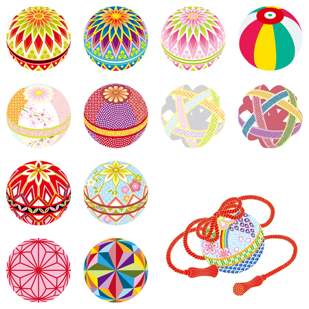 Temari-Japanese traditional toys, isolated on white background