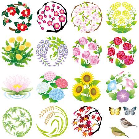 seizoensgebonden bloem iconen Stock Illustratie
