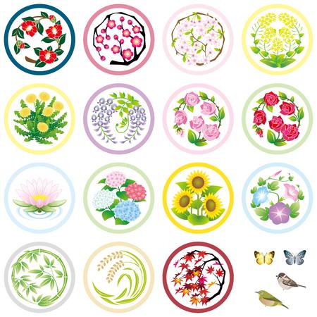 seasonal flower icons  イラスト・ベクター素材